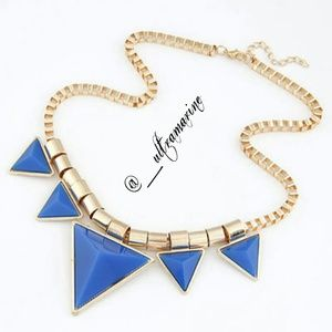 |NEW| Royal Blue Triangle Statement Necklace