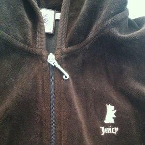 Juicy Couture Dark Brown velour track hoodie