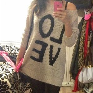 "Cream Oversized ""LOVE"" Sweater"