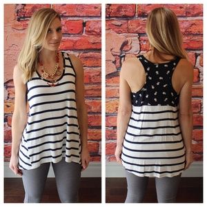 Navy striped floral conrast tank