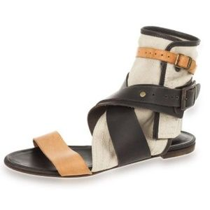 Chloe Shoes - CHLOE Multi strap leather &canvas gladiator