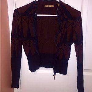 Vintage Maroon/Brown/Black Cropped Blazer Jacket