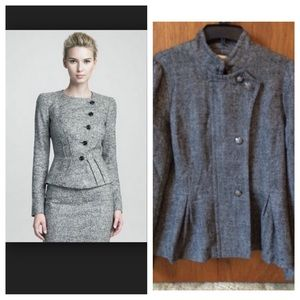 Tweed jacket with zipper & button detail