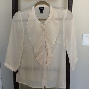 Sheer cream H&M blouse