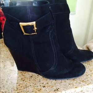 Tory Burch Black Suede Wedge Boots