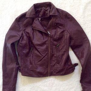 Outerwear - Maroon Pleather Jacket