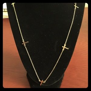 Gold Cross Long Necklace