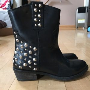 Black leather moto ankle booties size 6