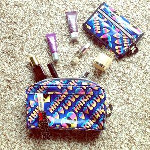 Harajuku Lovers Handbags - Blue rainbow graffiti makeup cosmetic bag & wallet