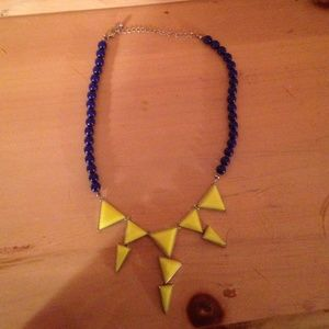 neon yellow and royal blue statement necklace