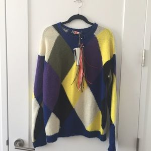 MSGM  Sweaters - MSGM Multicolored Diamond Knit Mohair Sweater M