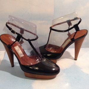 Lanvin Shoes - PRE-OWNED LANVIN BLACK PATENT LEATHER SHOES 8/38