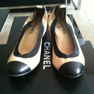 Chanel Nude Black Cap Toe Pumps Heels Spirit 6.5 7