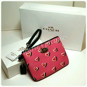 New Coach Pink hearts Wristlet + gift box