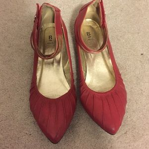 Bakers Shoes - Red ankle strap flats