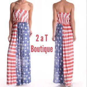 ba8f2a7a9a7 2 a T Boutique Dresses - LAST ONE 🎉Patriotic Maxi
