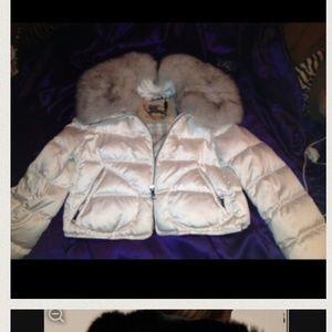 White burberry  Brit bubble mink coat.