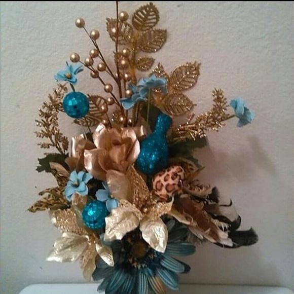 Angelese Creations Other Blue Gold Cheetah Print Flower Pen Bouquet Poshmark