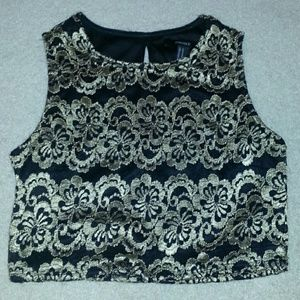 Forever 21 black and gold crop top sz m worn once