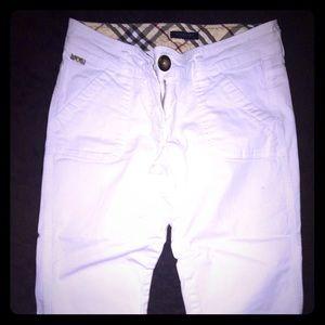 White Burberry Capri Pants