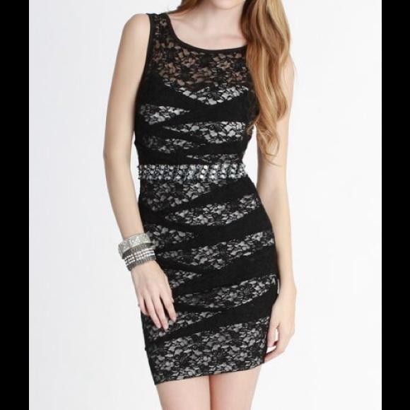 fab3c917e82a niki biki Dresses | Black And White Lace Overlay Pintucked Jewel ...