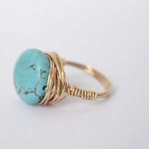 Size 7 Magnesite Turquoise Ring