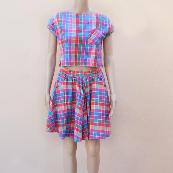 854ec3c05 Vtg Crop Top & Skater Skirt Set by Calypso. M_54f16ded522b452b7000a2be