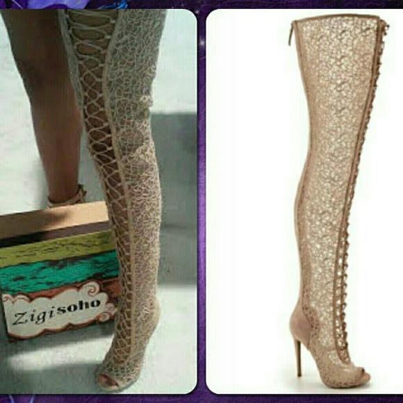 16 zigi shoes maili thigh high lace up boot