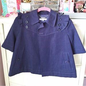 New! See by Chloe Navy Ruffle Crop Jacket Coat