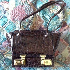 Carla Mancini Handbags - Croc stenciled leather handbag & free gift