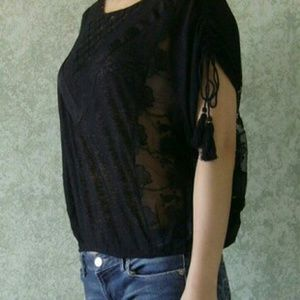 Free People Black Lace Detailed Top w/ Tassles NWT