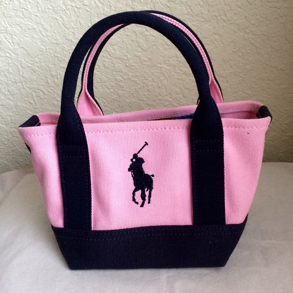 Ralph Lauren Girls Big Pony Mini Canvas Tote