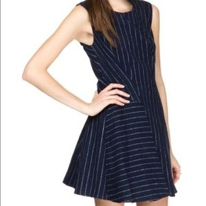 J.O.A.  Structured Sleeveless Dress in Pinstripes