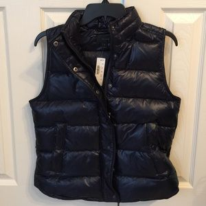 J.crew Shiny Puffer Vest - Small