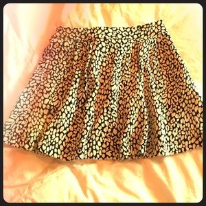 Black and white leopard skater skirt