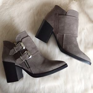 Taupe Buckled Faux Suede Booties