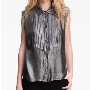 Equipment Tops - Equipment Metallic Silver Tuxedo Blouse