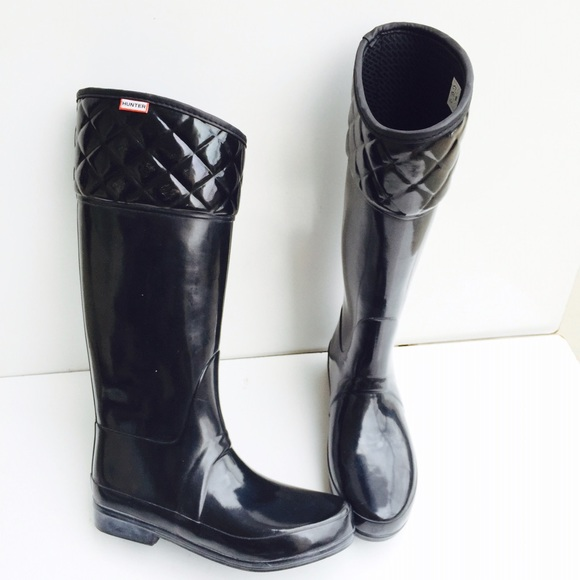 63% off Hunter Boots - Hunter authentic black quilted rain boots ...