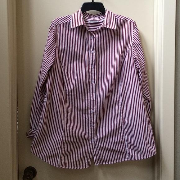 Avenue red and white striped button down blouse from for Red and white striped button down shirt