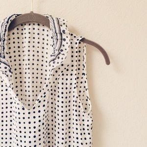 Elie Tahari silk polka dot top!