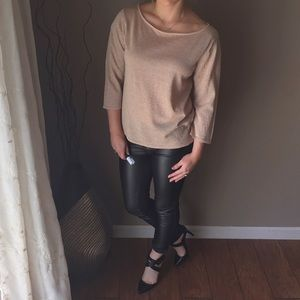 Metallic 3/4 Sleeve Boatneck Top