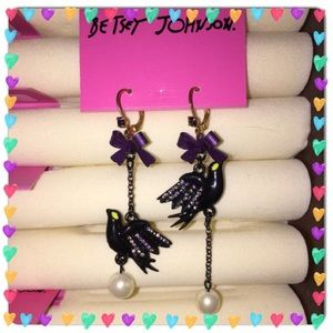 RARE Betsey Johnson Vintage Vicky crow earrings