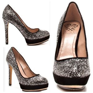 Vince Camuto Black & Silver Sequin Pumps