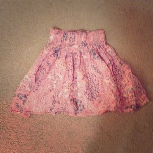 Pink Floral Full Mini Skirt