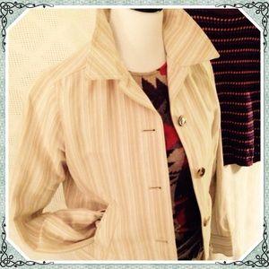 Short Jean jacket style, crisp cotton beige stripe