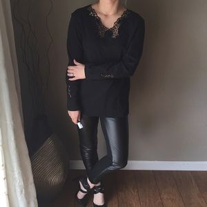 Black Long Sleeve Lacy Openwork Tunic