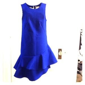 Cobalt blue sleeveless dress with ruffle detail