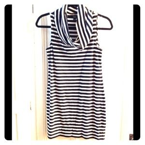 Express black and white strped cowl neck tunic