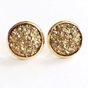 thejeweladdict Jewelry - 3 for 15🎀rocky gold flat Drusy style studs