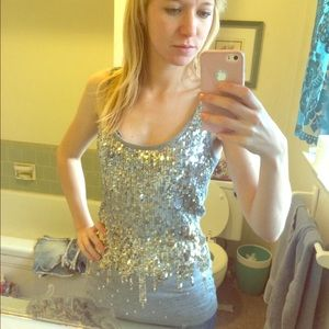 Gray tank top silver and gold sequins glitter